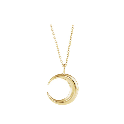 Solid 14K Gold Crescent Moon Necklace