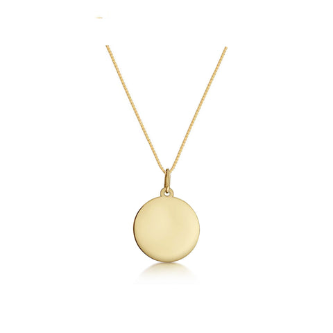 Solid 9K Gold Customisable Disc Necklace