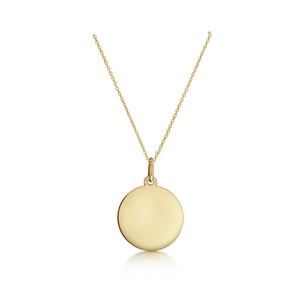 Solid 14K Gold Customisable Disc Necklace