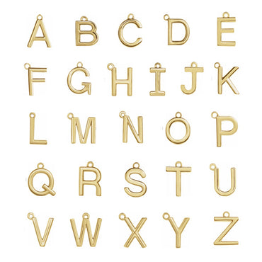 Solid Gold Individual Initial Charm A-Z