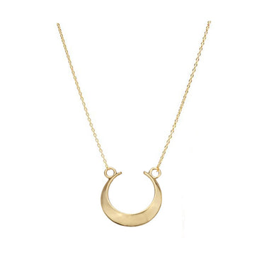 Solid Gold Crescent Necklace