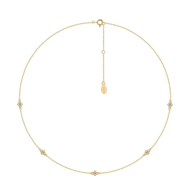 Solid 14K Gold Diamond Station Necklace