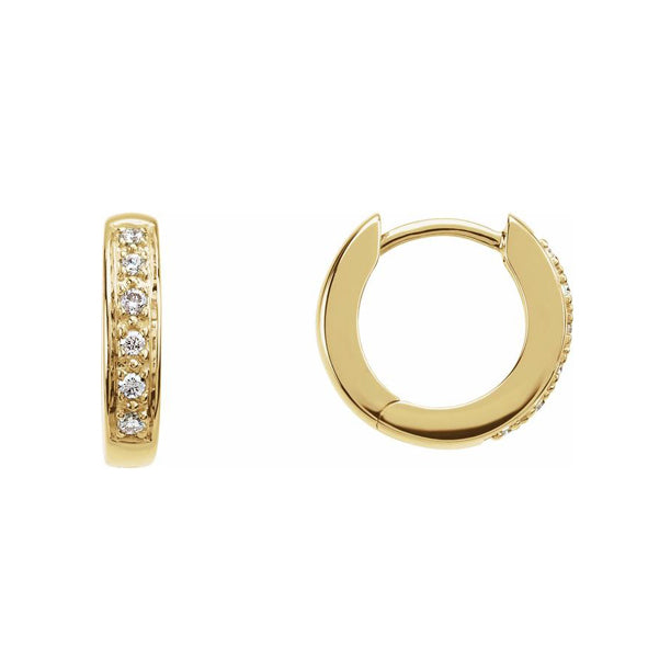 Solid Gold and Diamond Huggie Hoops