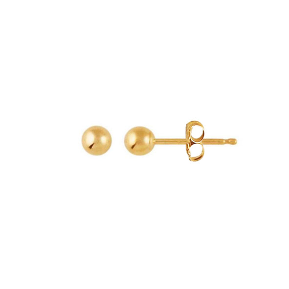 14K Gold Full Moon Stud Earrings 3mm