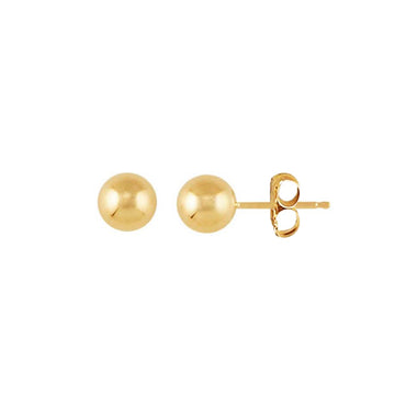 Solid Gold Full Moon Stud Earrings 6mm