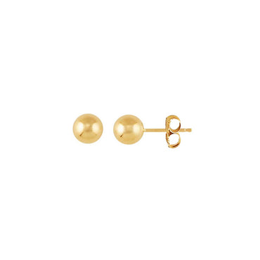 14K Gold Full Moon Stud Earrings 5mm