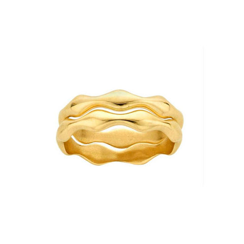 Solid 14K Gold Wave Ring