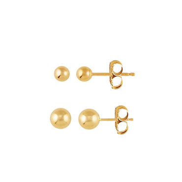 14K Gold Full Moon Stud Set