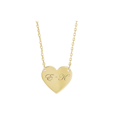 Solid Gold Engravable Heart Necklace