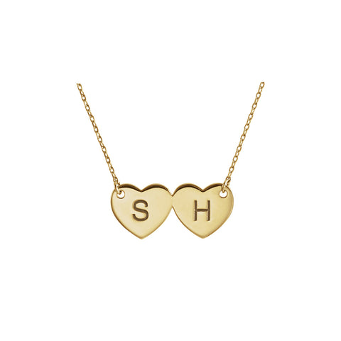 Solid 14K Gold Double Hearts Necklace