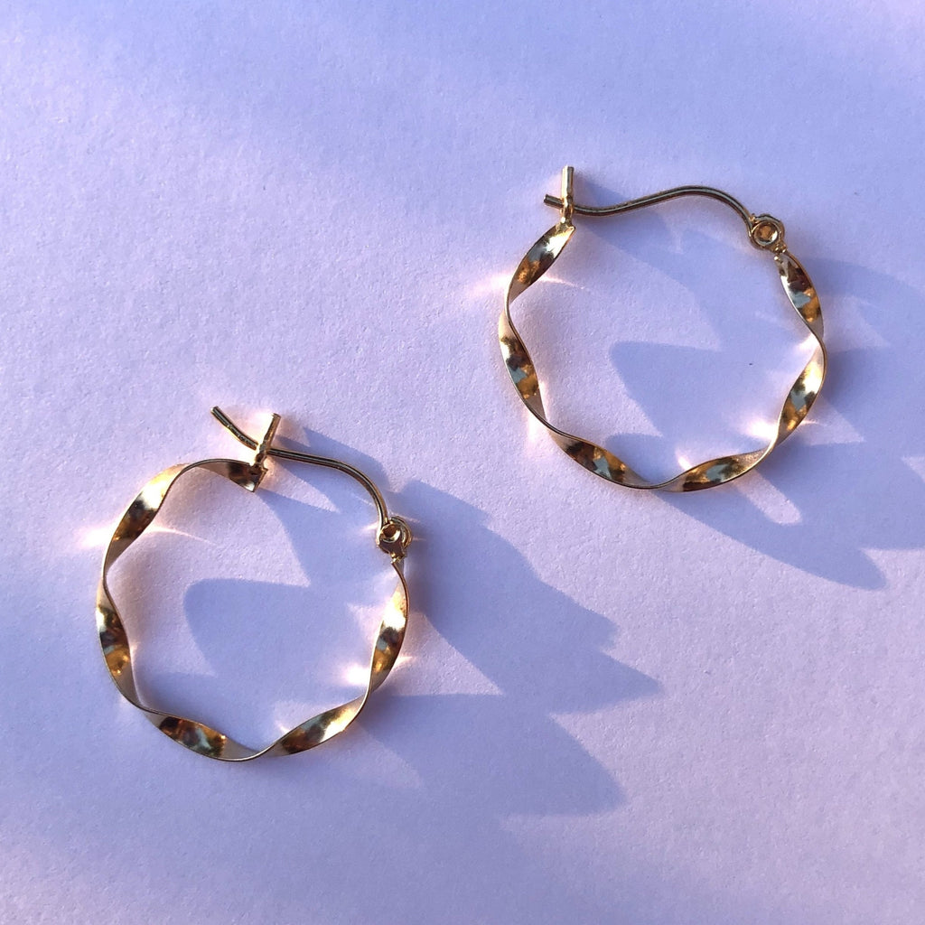 Solid 14K Gold Twist Hoops