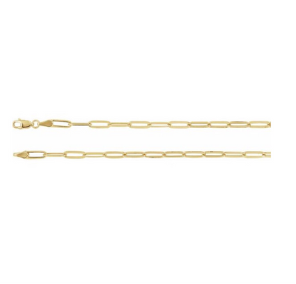 New! Gold Flat Link Chain Necklace 16inch