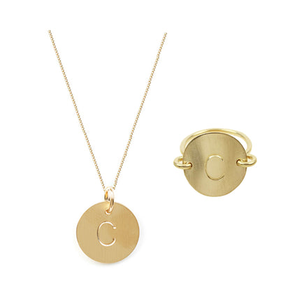 Gold Initial Necklace and Ring Set