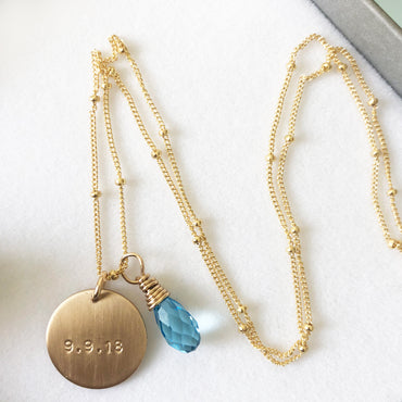 DOB Necklace with blue gemstone (It's a boy)