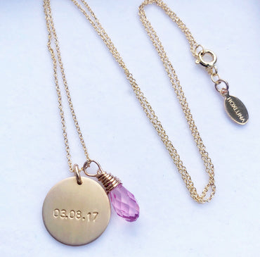 DOB Necklace With Pink Gemstone  (It's A Girl)