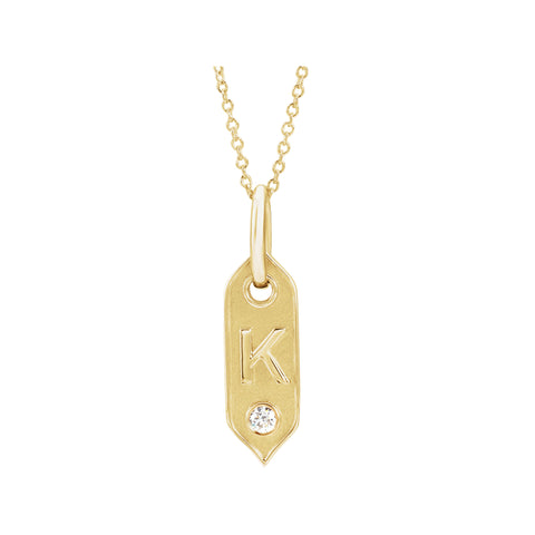 Solid Gold & Diamond Letter Necklace A-Z