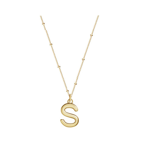 Solid Gold Mini Love Letter Necklace On Curb Chain