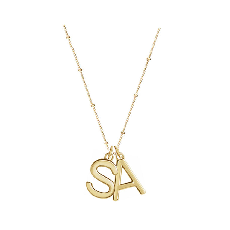 Solid Gold Mini Love Letter Necklace On Curb Chain- Two Charms