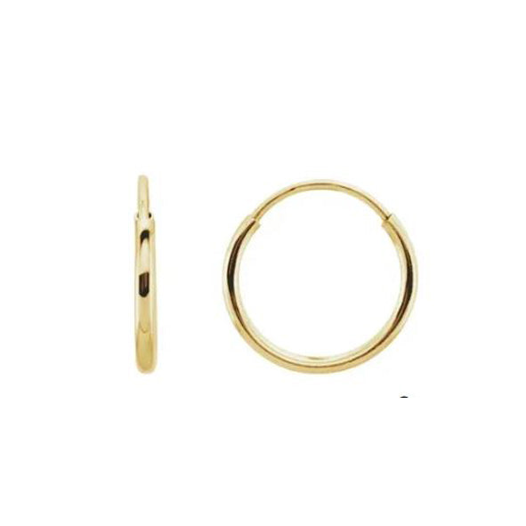 Solid Gold 10mm Endless Hoops