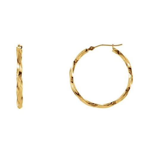 Solid Gold Large Twist Hoop Earrings