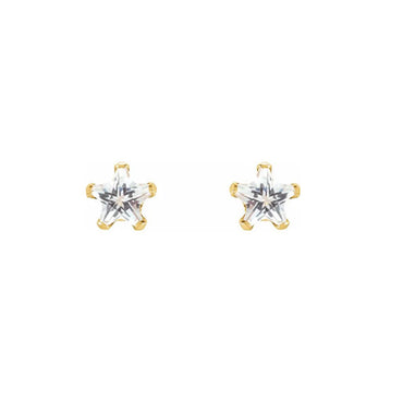 Solid Gold CZ Star stud Earrings