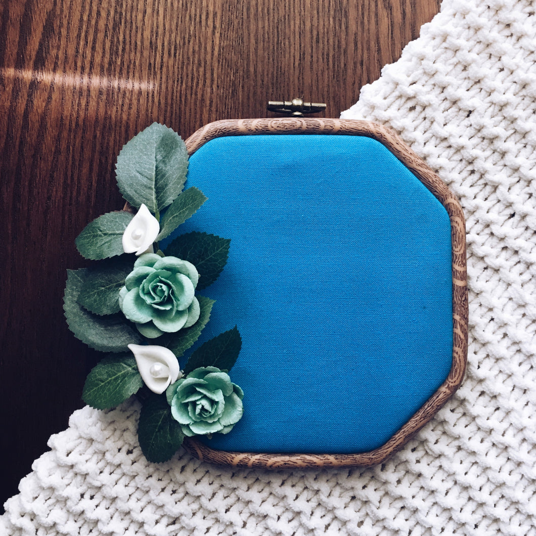 Hexagonal Turquoise Floral Pin Hoop