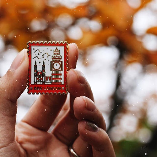 Red London Enamel Pin