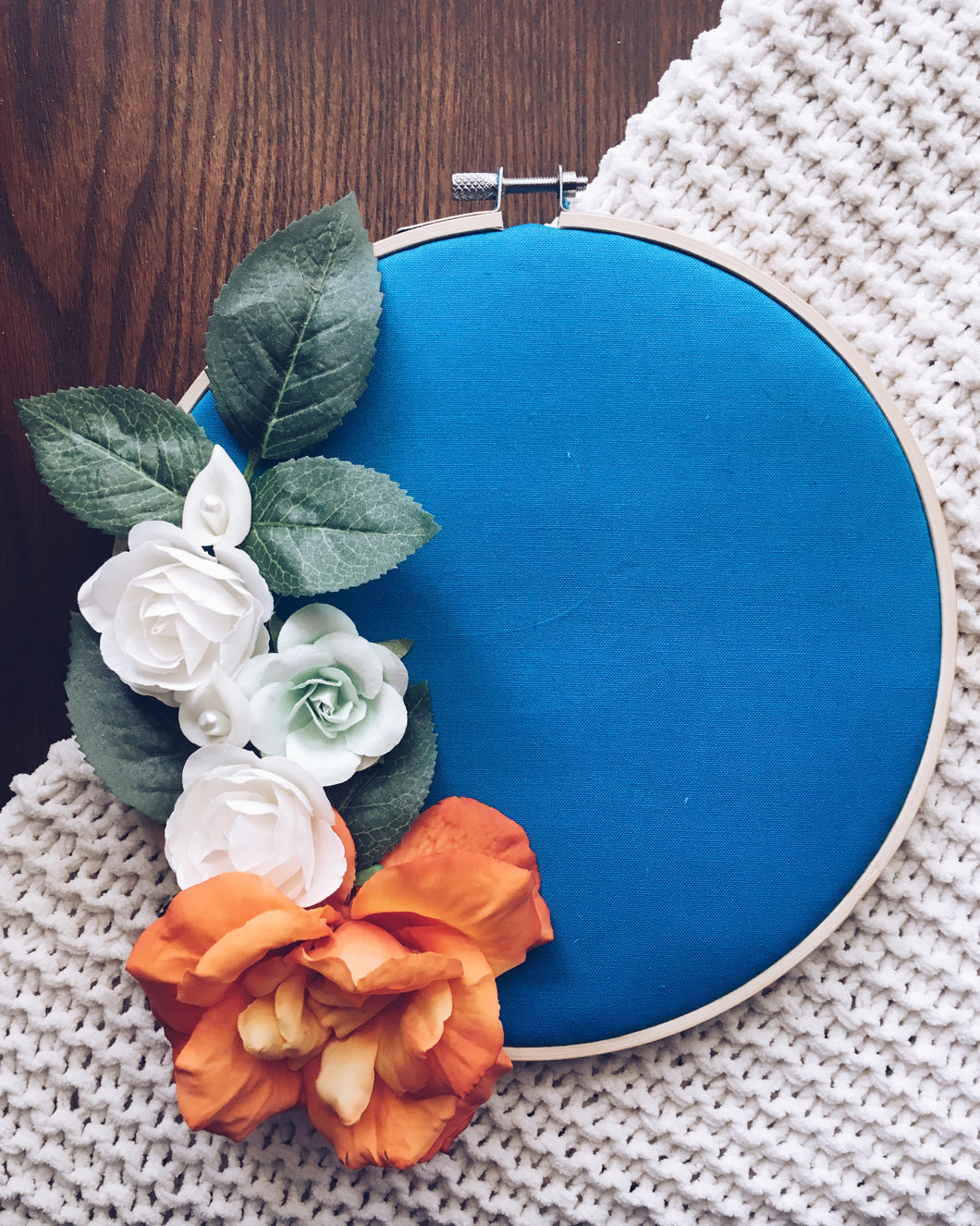 Turquoise + Floral Pin Hoop