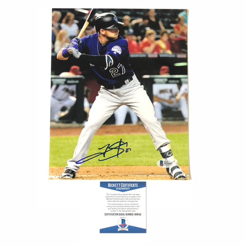 Trevor Story signed 8x10 photo BAS Beckett Colorado Rockies Autographed