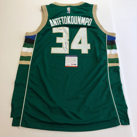 Giannis Antetokounmpo signed jersey PSA/DNA Milwaukee Bucks Autographed