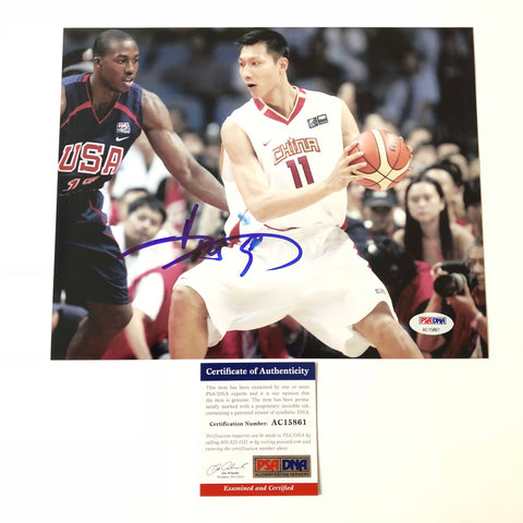 Yi Jianlian signed 8x10 photo PSA/DNA China Autographed