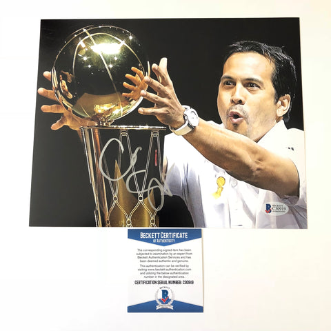 Erik Spoelstra signed 8x10 photo BAS Beckett Miami Heat Autographed