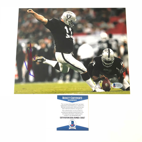 Sebastian Janikowski signed 8x10 photo BAS Beckett Oakland Raiders Autographed