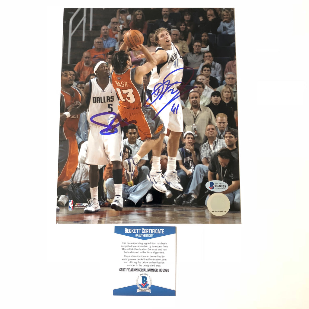 ab630609009 Steve Nash Dirk Nowitzki signed 8x10 photo BAS Beckett Autographed ...