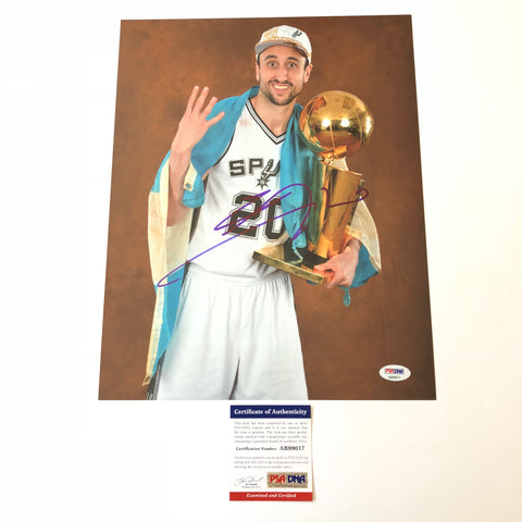 Manu Ginobili signed 11x14 photo PSA/DNA San Antonio Spurs Autographed