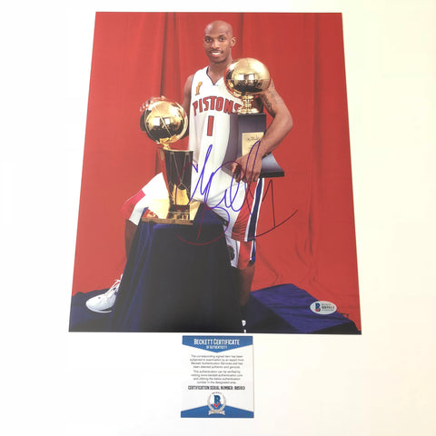 Chauncey Billups signed 11x14 photo BAS Beckett Detroit Pistons Autographed