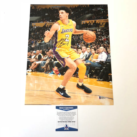 Lonzo Ball signed 11x14 photo BAS Beckett Los Angeles Lakers Autographed