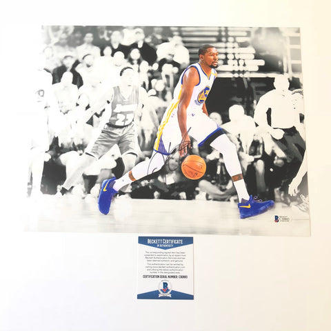 Kevin Durant signed 11x14 photo BAS Beckett Golden State Warriors Autographed