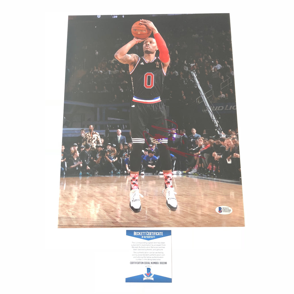 sneakers for cheap 16282 53805 Damian Lillard signed 11x14 photo BAS Beckett Portland Trail ...