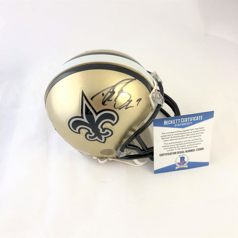 Drew Brees signed mini helmet BAS Beckett New Oreans Saints autographed