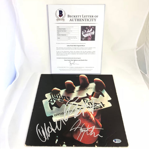 Judas Priest signed British Steel LP vinyl BAS Beckett Autographed Album