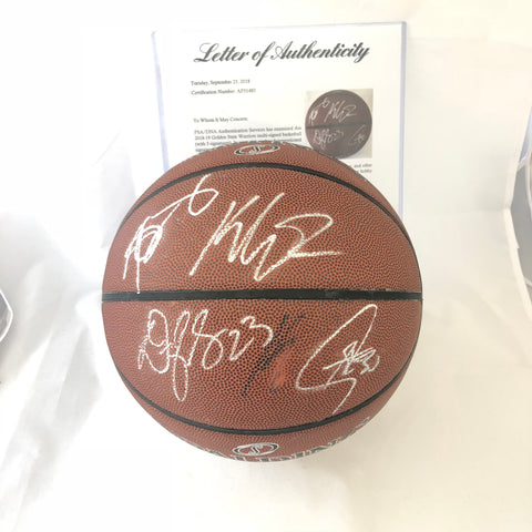 2018-19 Warriors Team signed Basketball PSA/DNA autographed Curry Durant Cousins Green Thompson