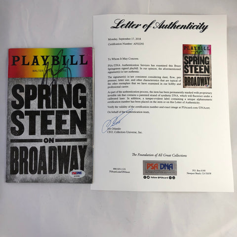 Bruce Springsteen signed playbill PSA/DNA autographed Springsteen on Broadway