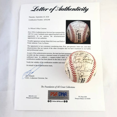 1997 St. Louis Cardinals Team signed baseball PSA/DNA autographed Mark McGwire ball