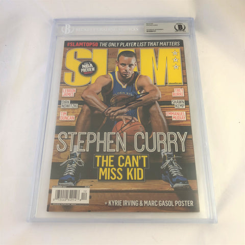 Stephen Curry signed SLAM Magazine BAS Beckett Warriors Autographed slabbed Steph
