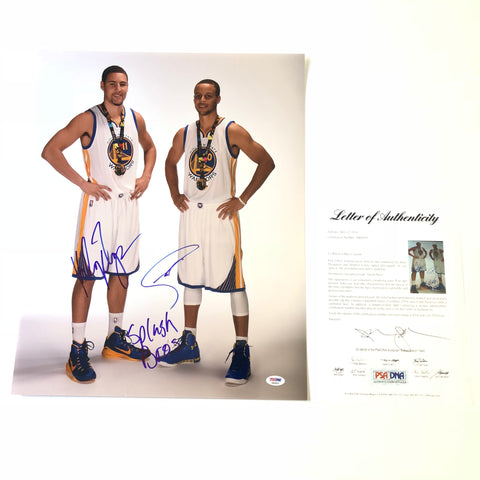 Stephen Curry Klay Thompson signed 16x20 photo PSA/DNA Golden State Warriors Autographed Steph