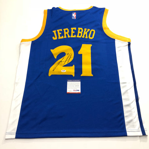 Jonas Jerebko signed jersey PSA/DNA Golden State Warriors Autographed