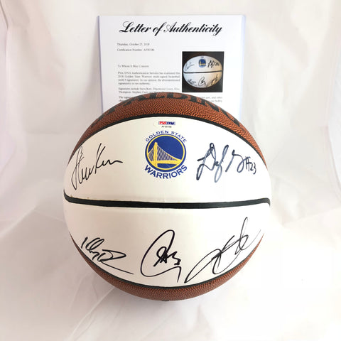 2018-19 Warriors Team signed Basketball PSA/DNA autographed Curry Durant Green Thompson Kerr