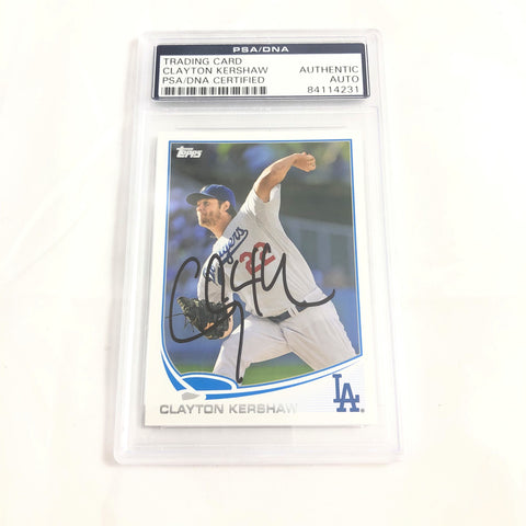 Clayton Kershaw signed Topps 2013 card PSA/DNA slabbed Autographed AUTO