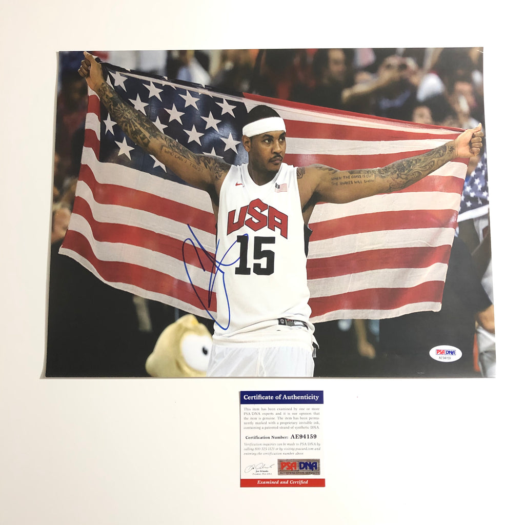 new product ca56d 8d8e6 Carmelo Anthony signed 11x14 photo PSA/DNA Team USA ...